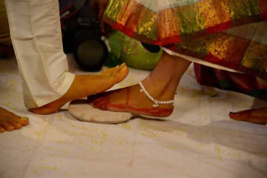 Indian wedding bride and Bridegroom legs