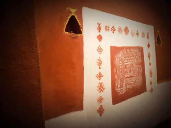 Designs in Walls of Village Huts