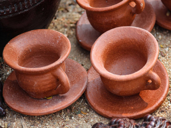 clay tea cups set