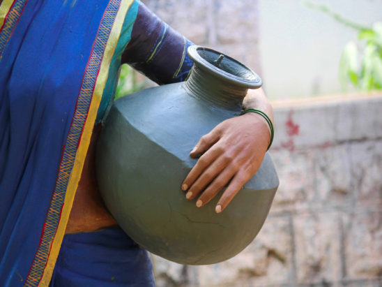 drinking pot on women waist