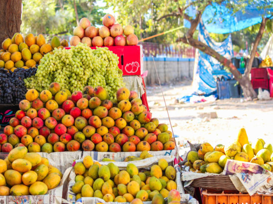 Street side fruit stall in India