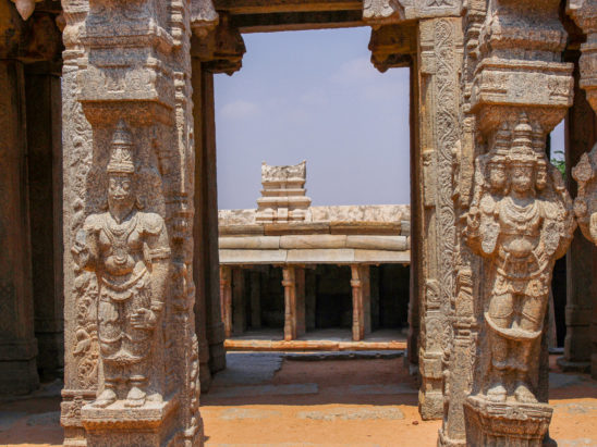 Hindu God Idols Carved on Stone Pillars in Lepakshi Temple