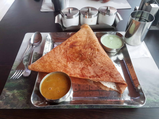 masala dosa served on the table