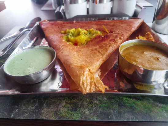 Masala dosa chutney and sambar