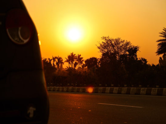 sunset view seen on road