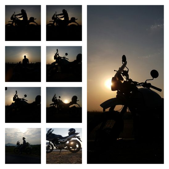 sunset and bike collages
