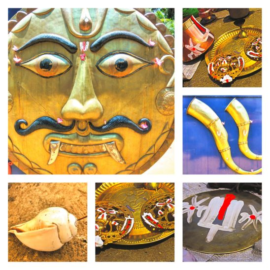 traditional pooja items collage