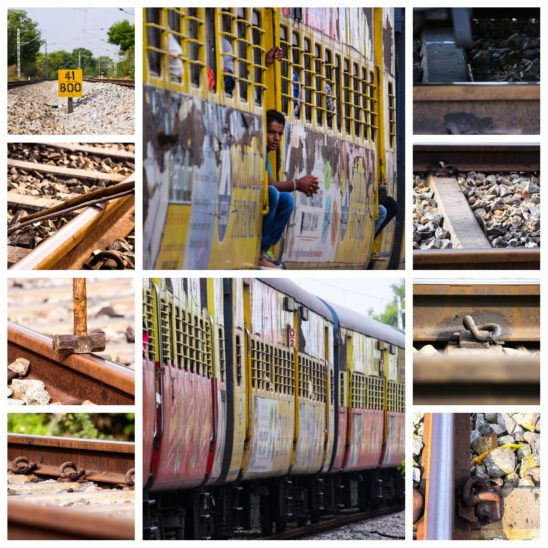 train and tracks collages