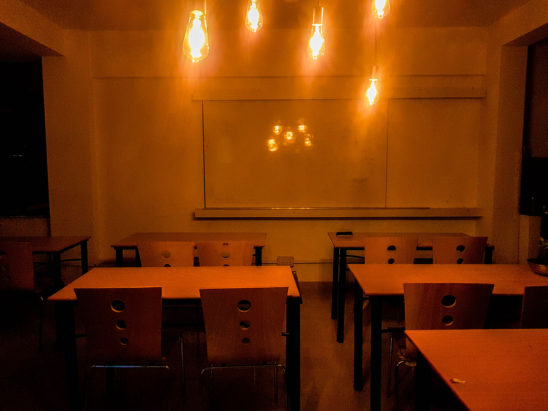 tables and chairs with lighting