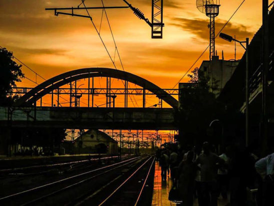 An evening in railway station