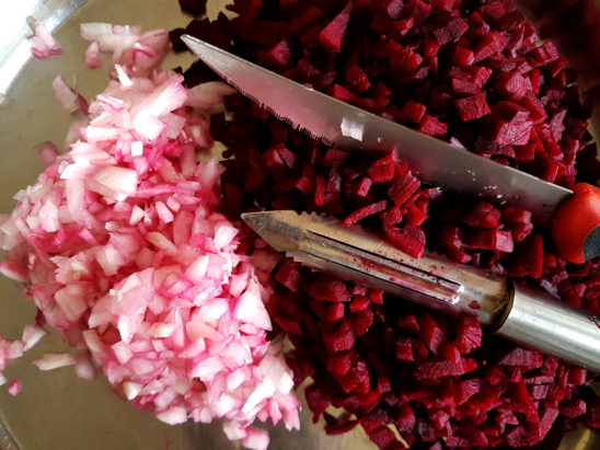 Chopped Onions and Beetroots