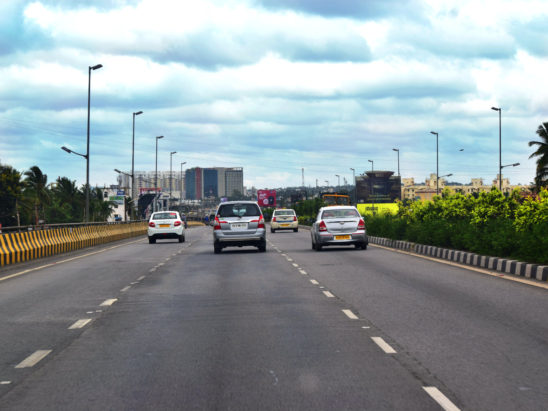 vehicles travelling on flyover