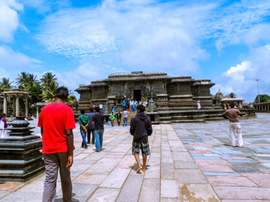 People visiting halebidu Temple