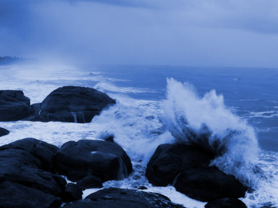 Ocean Waves Hitting Rocks