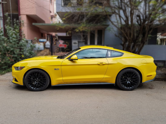 Ford Mustang side view blurred