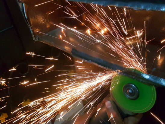 welding and grinding flares