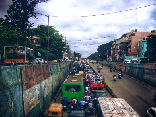 traffic jam in bangalore in underpass