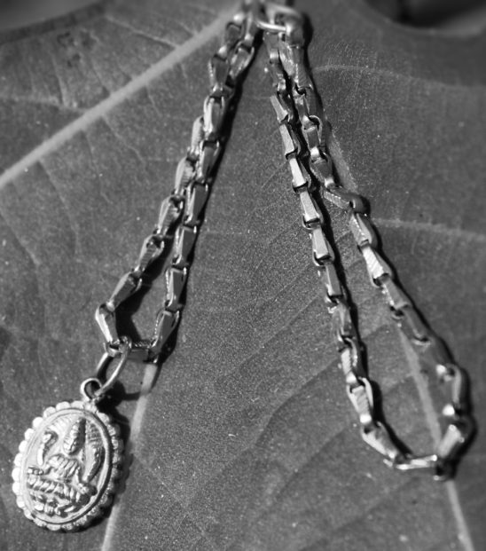 Lakshmi dollar gold chain black and white
