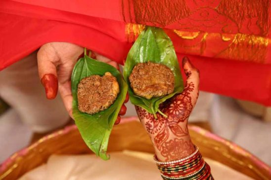 indian marriage - jeera and jaggery paste
