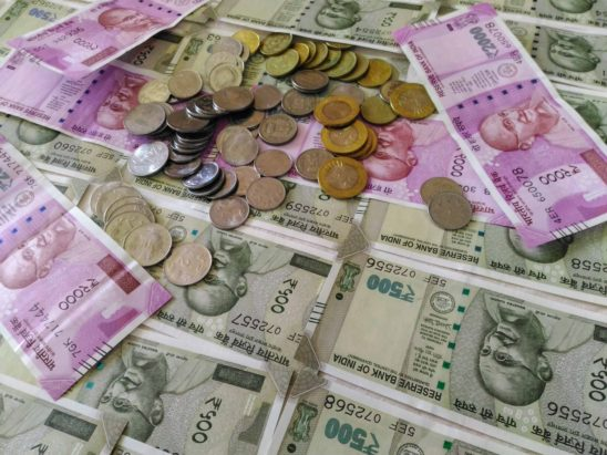 Indian note and coins