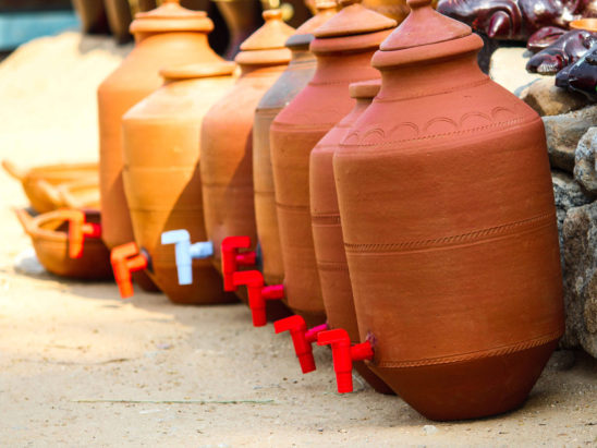 Clay pots - indian water cooling pots with taps