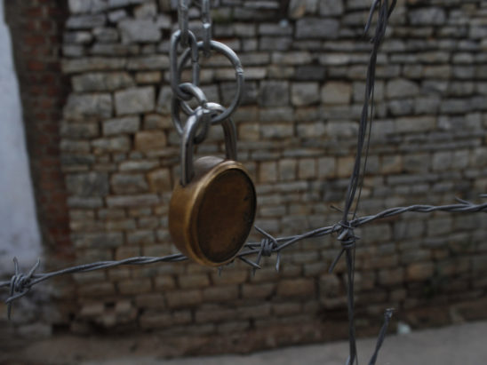 Lock with Rock Background