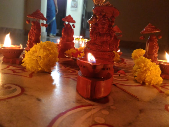 Lamps Lightened During Pooja
