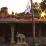 Temple outside view with sun rays falling