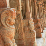 Lion Carved on Stone Pillar in Lepakshi Temple