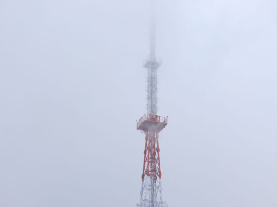 Mobile Tower View in Fog