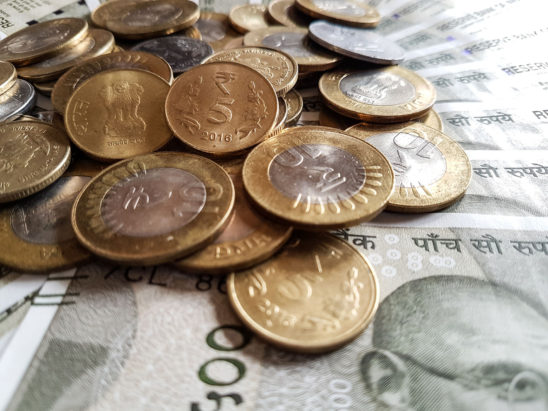 Indian Currency 500 Rs and coins