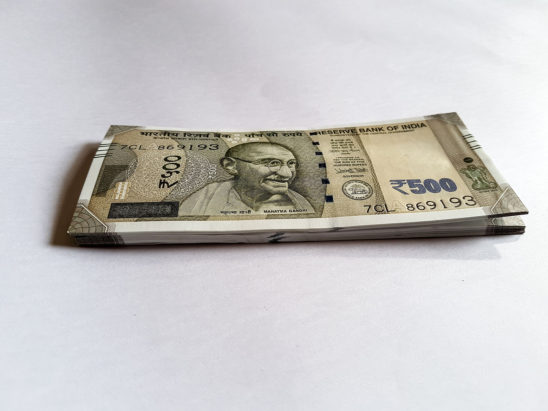 Indian 500 Rs note pile