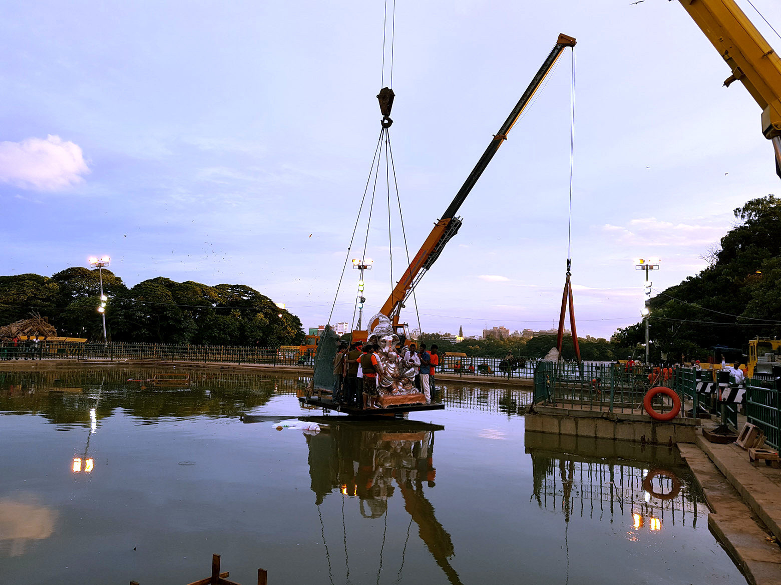 Cranes used for Ganesh Immersion in Lakes