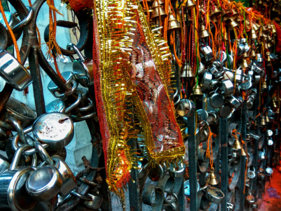 locks and bells tied in temple