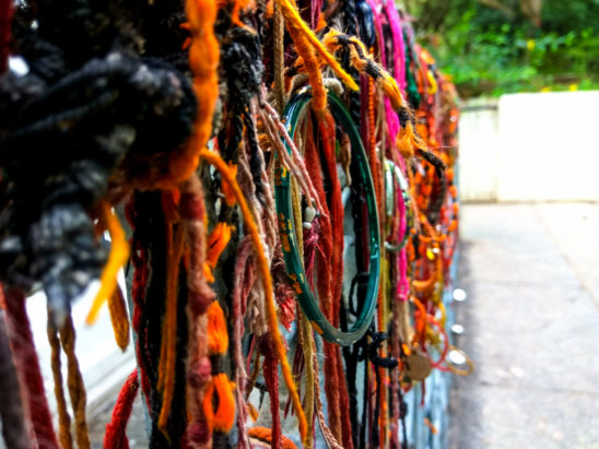 threads tied in temple